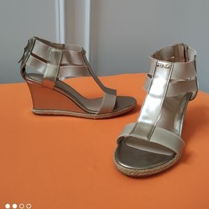 Fendi wedge sandals logo metallic 37